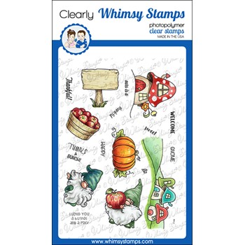 Whimsy Stamps GNOME SO THANKFUL Clear Stamps C1147a