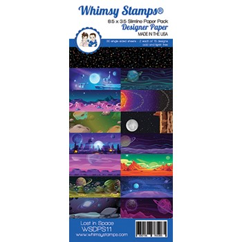 Whimsy Stamps SLIMLINE LOST IN SPACE 8.5 x 3.5 Paper Pack WSDPS11