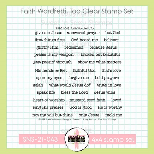 Sweet 'N Sassy FAITH WORDFETTI TOO Clear Stamp Set sns21043 Preview Image