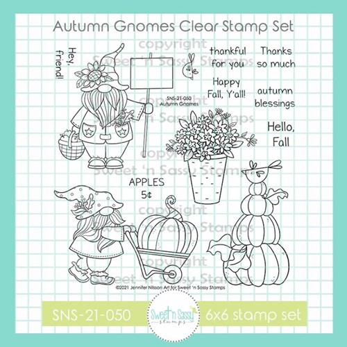 Sweet 'N Sassy AUTUMN GNOMES Clear Stamp Set sns21050 Preview Image
