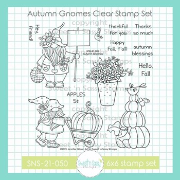 Sweet 'N Sassy AUTUMN GNOMES Clear Stamp Set sns21050