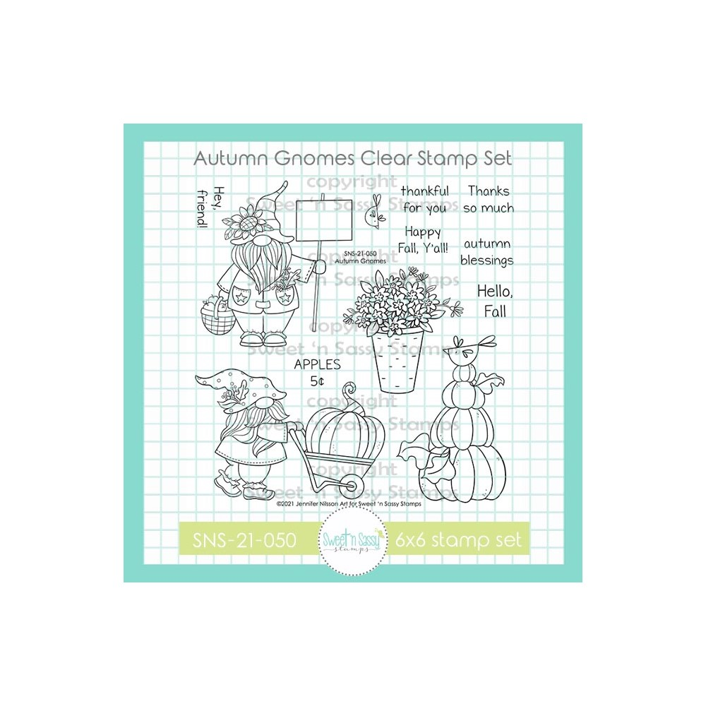 Sweet 'N Sassy AUTUMN GNOMES Clear Stamp Set sns21050 zoom image