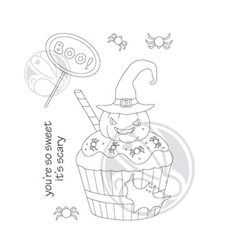 The Rabbit Hole Designs HALLOWEEN CUPCAKE Clear Stamps TRH-127