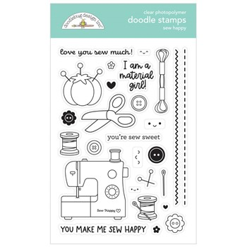 Doodlebug SEW HAPPY Clear Stamps 7265