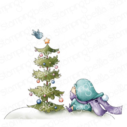 Stamping Bella Cling Stamps BUNDLE GIRL WITH CHRISTMAS TREE AND A BIRDIE eb1042 Preview Image