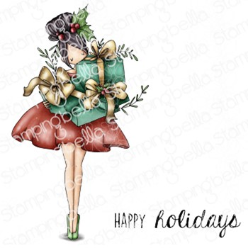 Stamping Bella Cling Stamps CURVY GIRL WITH HOLIDAY GIFTS eb1049