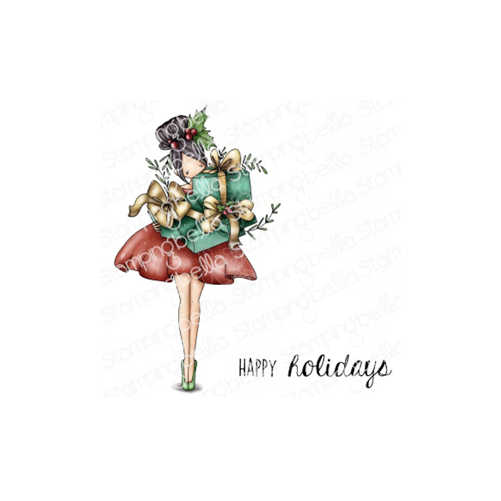 Stamping Bella Cling Stamps CURVY GIRL WITH HOLIDAY GIFTS eb1049 zoom image