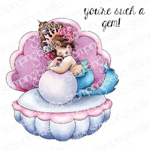 Stamping Bella Cling Stamps EDNA IN A CLAM eb1051 Preview Image