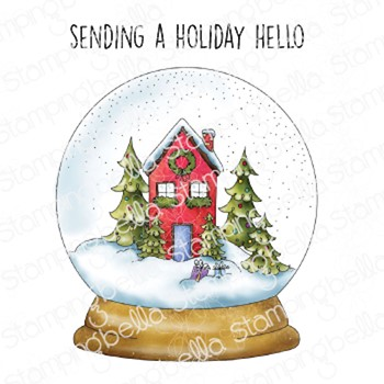 Stamping Bella Cling Stamps HOLIDAY SNOW GLOBE eb1057