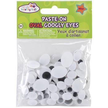 Assorted Sizes OVAL GOOGLY EYES Pack em402