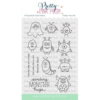 Pretty Pink Posh MONSTER HUGS Clear Stamps