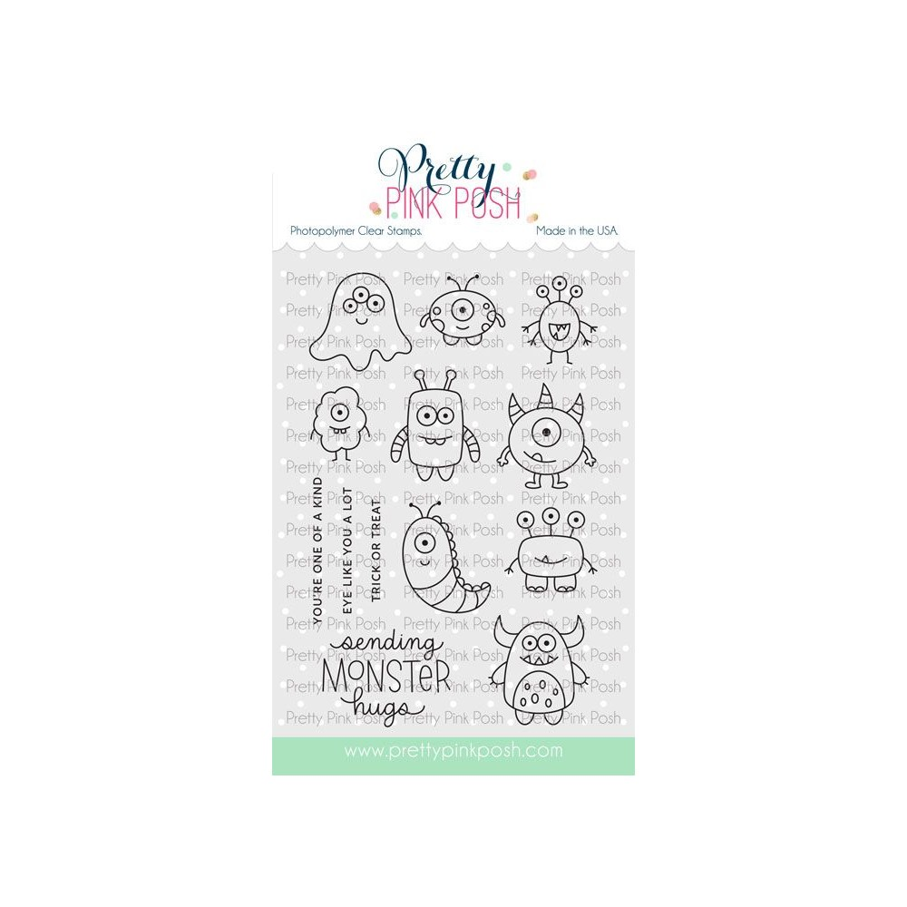 Pretty Pink Posh MONSTER HUGS Clear Stamps zoom image