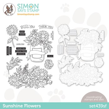 Simon Says Stamps and Dies SUNSHINE FLOWERS set439sf *