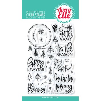 Avery Elle Clear Stamps MERRY CIRCLE TAGS ST-21-27
