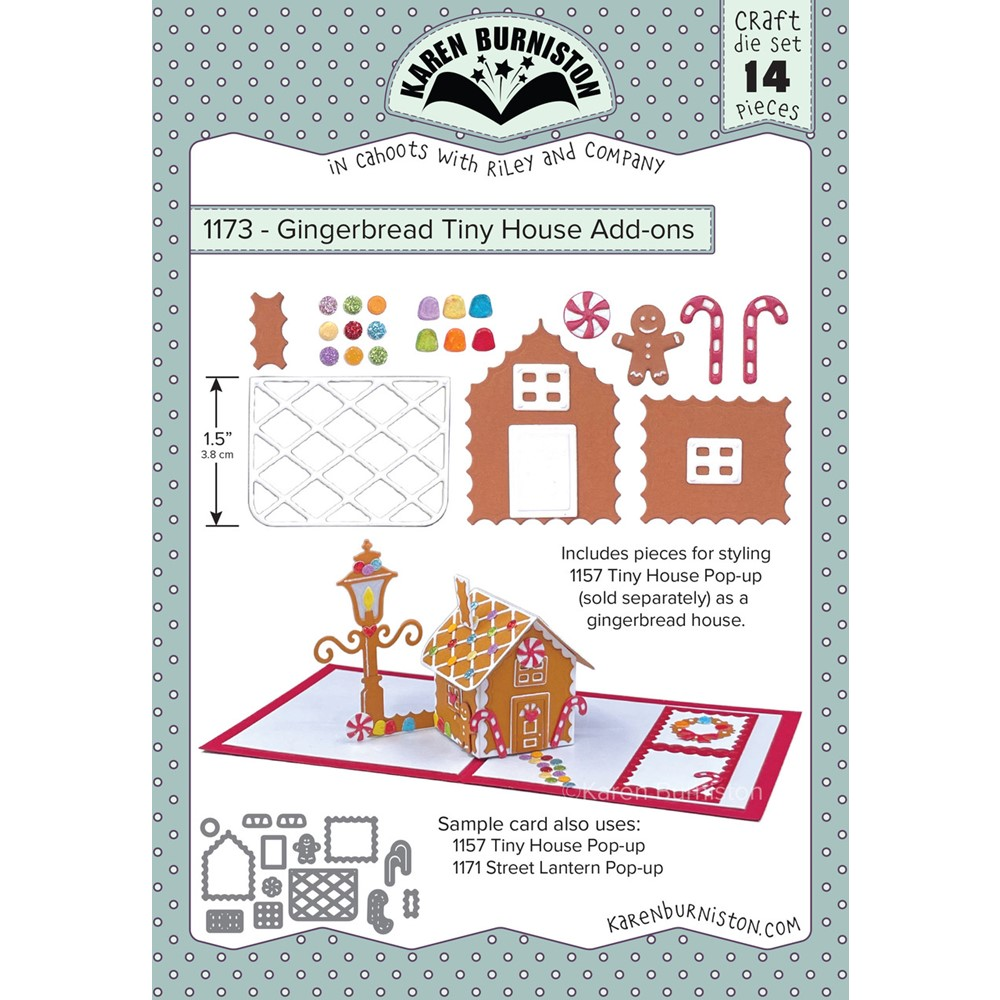Karen Burniston GINGERBREAD TINY HOUSE ADD ONS Dies 1173 zoom image