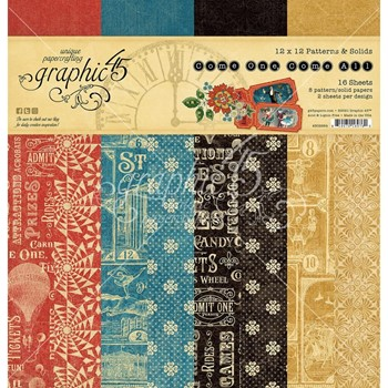 Graphic 45 COME ONE COME ALL 12 x 12 Patterns And Solids Paper Pad g4502309