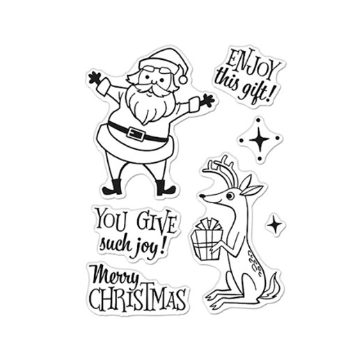 Hero Arts Clear Stamps MERRY CHRISTMAS SANTA AND REINDEER CM533 Preview Image