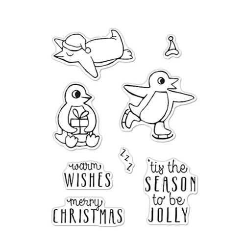Hero Arts Clear Stamps WARM WISHES PENGUINS CM532 Preview Image