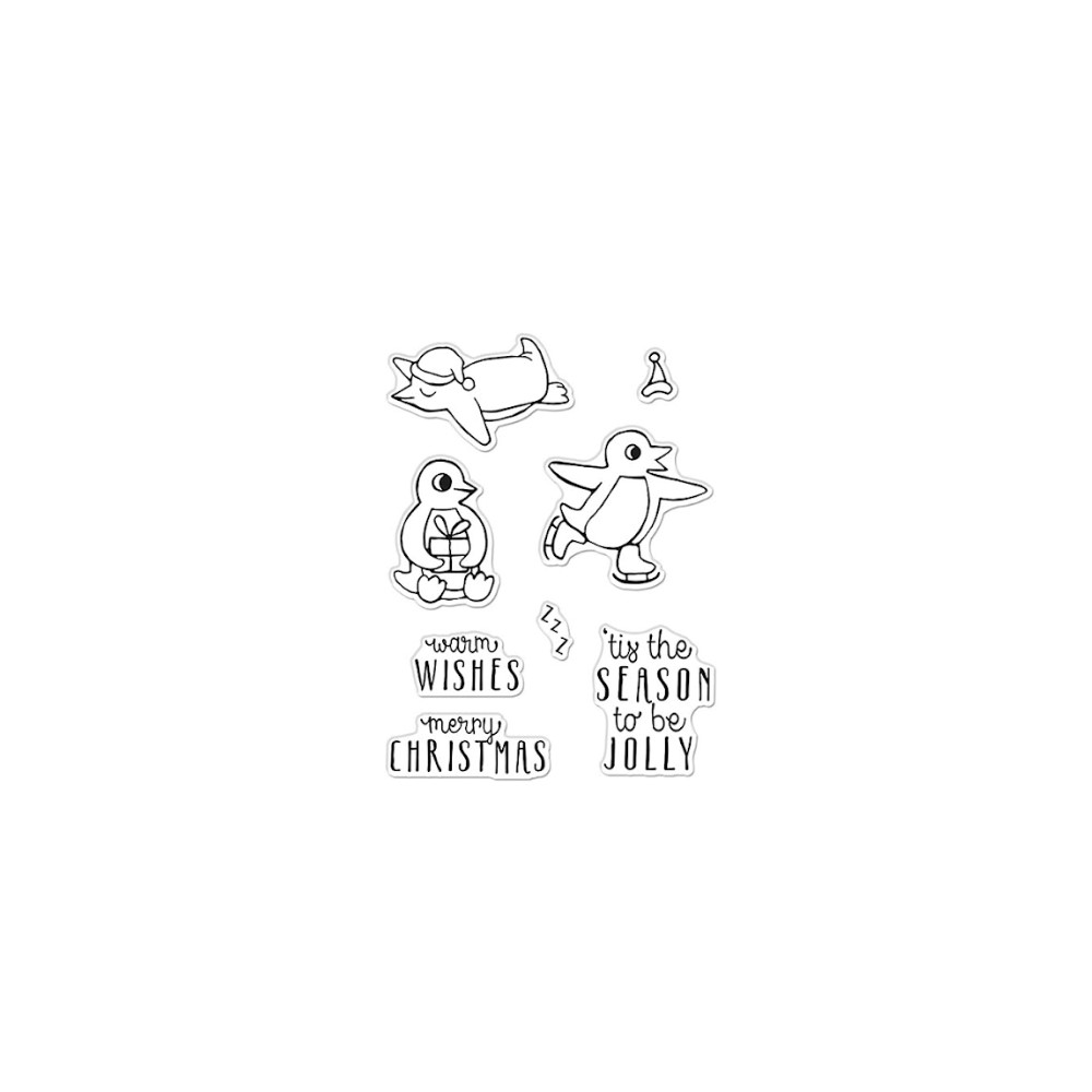 Hero Arts Clear Stamps WARM WISHES PENGUINS CM532 zoom image