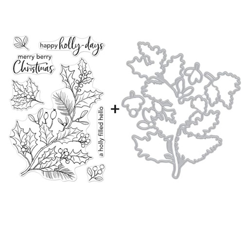 Hero Arts HOLLY BERRIES Clear Stamp and Die Combo SB292 Preview Image