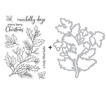 Hero Arts HOLLY BERRIES Clear Stamp and Die Combo SB292