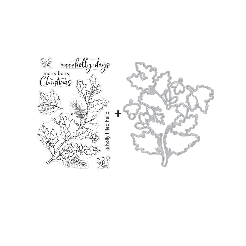 Hero Arts HOLLY BERRIES Clear Stamp and Die Combo SB292 zoom image