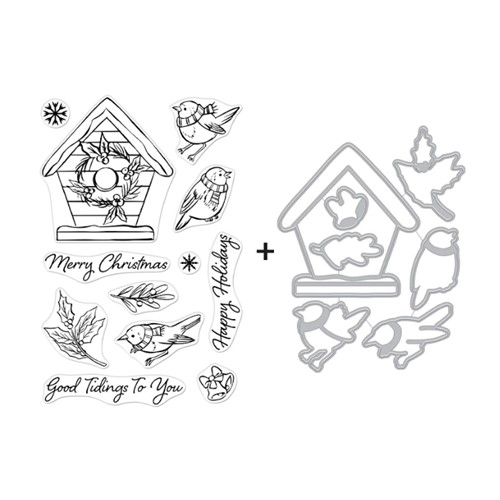 Hero Arts CHRISTMAS ROBINS Clear Stamp and Die Combo SB286 Preview Image