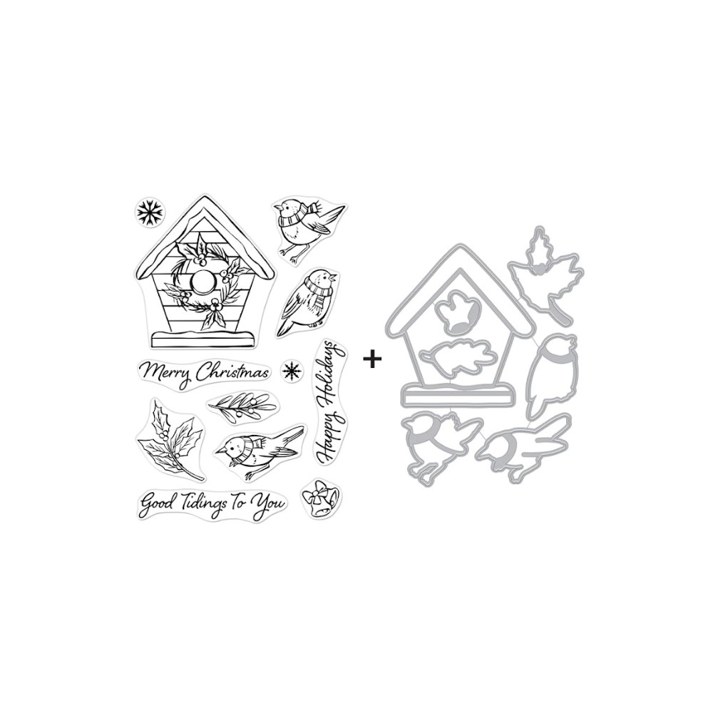 Hero Arts CHRISTMAS ROBINS Clear Stamp and Die Combo SB286 zoom image