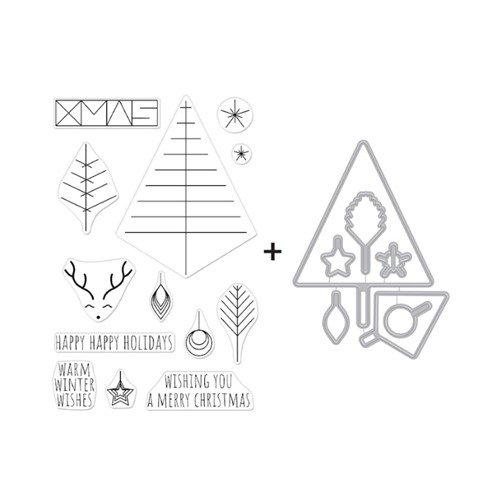 Hero Arts GRAPHIC LINES HOLIDAY Clear Stamp and Die Combo SB293 Preview Image