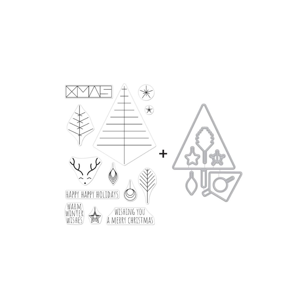 Hero Arts GRAPHIC LINES HOLIDAY Clear Stamp and Die Combo SB293 zoom image