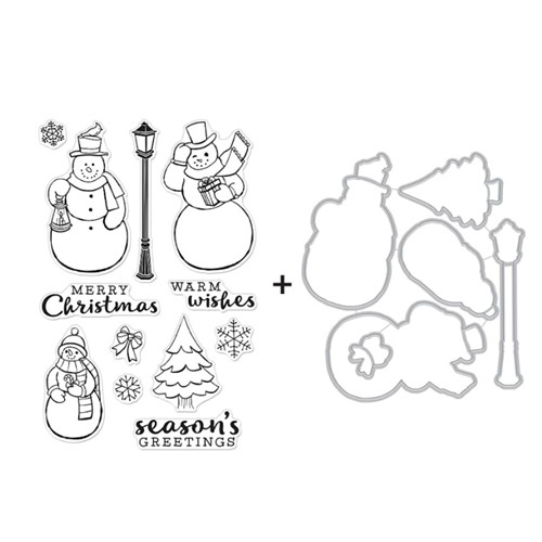 Hero Arts MERRY SNOWMEN Clear Stamp and Die Combo SB291 Preview Image