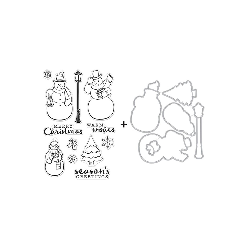 Hero Arts MERRY SNOWMEN Clear Stamp and Die Combo SB291 zoom image