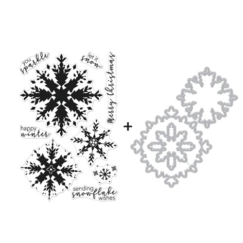 Hero Arts COLOR LAYERING SNOWFLAKE Clear Stamp and Die Combo SB289 Preview Image