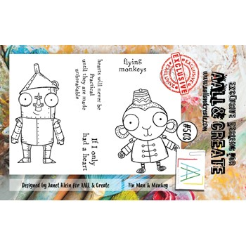 AALL & Create TIN MAN AND MONKEY A7 Clear Stamps aall503
