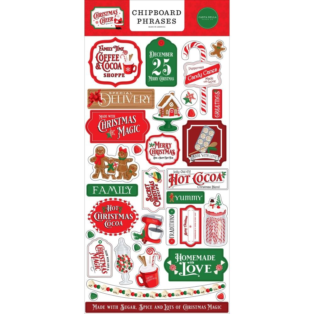 Carta Bella CHRISTMAS CHEER Chipboard Phrases cbchr141022 zoom image