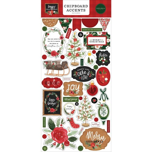 Carta Bella HAPPY CHRISTMAS Chipboard Accents cbxm140021 Preview Image