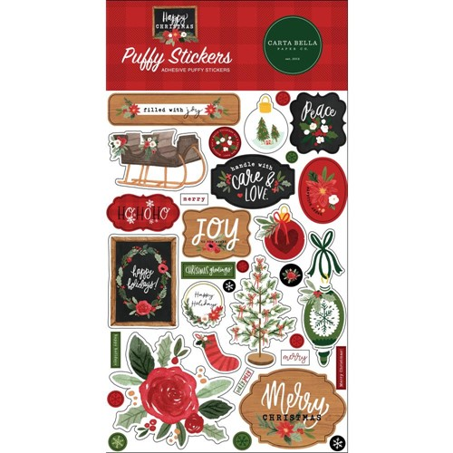 Carta Bella HAPPY CHRISTMAS Puffy Stickers cbxm140066 Preview Image