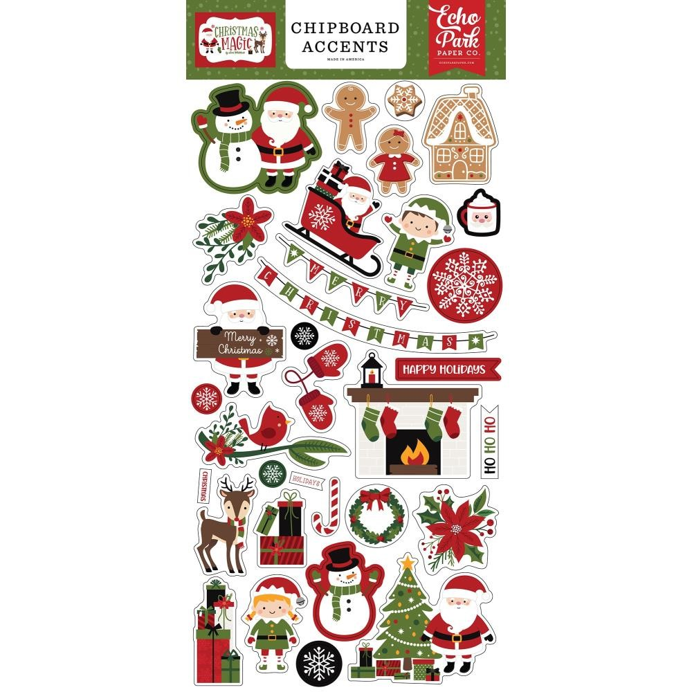 Echo Park CHRISTMAS MAGIC Chipboard Accents cm254021 zoom image
