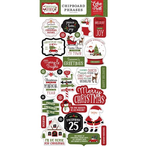 Echo Park CHRISTMAS MAGIC Chipboard Phrases cm254022 Preview Image