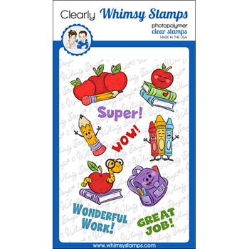 Whimsy Stamps BACK TO SCHOOL Clear Stamps KHB137a