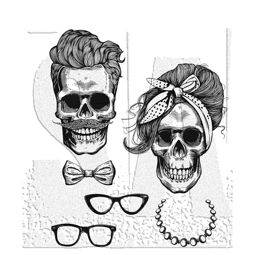 Tim Holtz Cling Rubber Stamps WICKED HIPSTERS CMS439 Preview Image