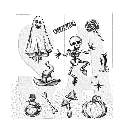 Tim Holtz Cling Rubber Stamps HALLOWEEN DOODLES CMS437 ** Preview Image