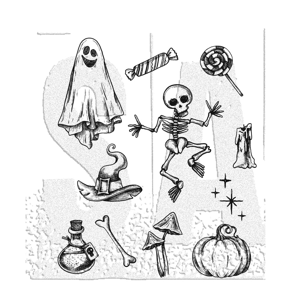 Tim Holtz Cling Rubber Stamps HALLOWEEN DOODLES CMS437 ** zoom image