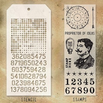 Tim Holtz Clear Stamps and Stencil HALFTONE AND DIGITS THMM118