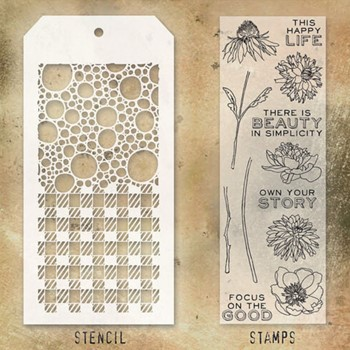 Tim Holtz Clear Stamps and Stencil BUBBLES AND GINGHAM THMM124*