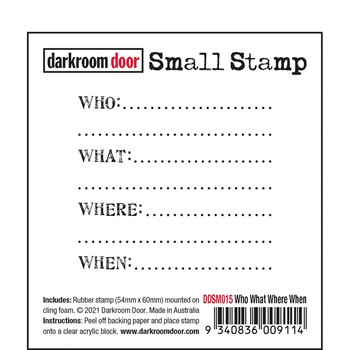 Darkroom Door Cling Stamps WHO WHAT WHERE WHEN Small ddsm015
