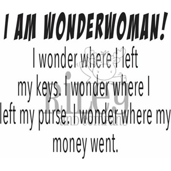 Riley And Company Funny Bones I AM WONDER WOMAN Cling Rubber Stamp RWD-943
