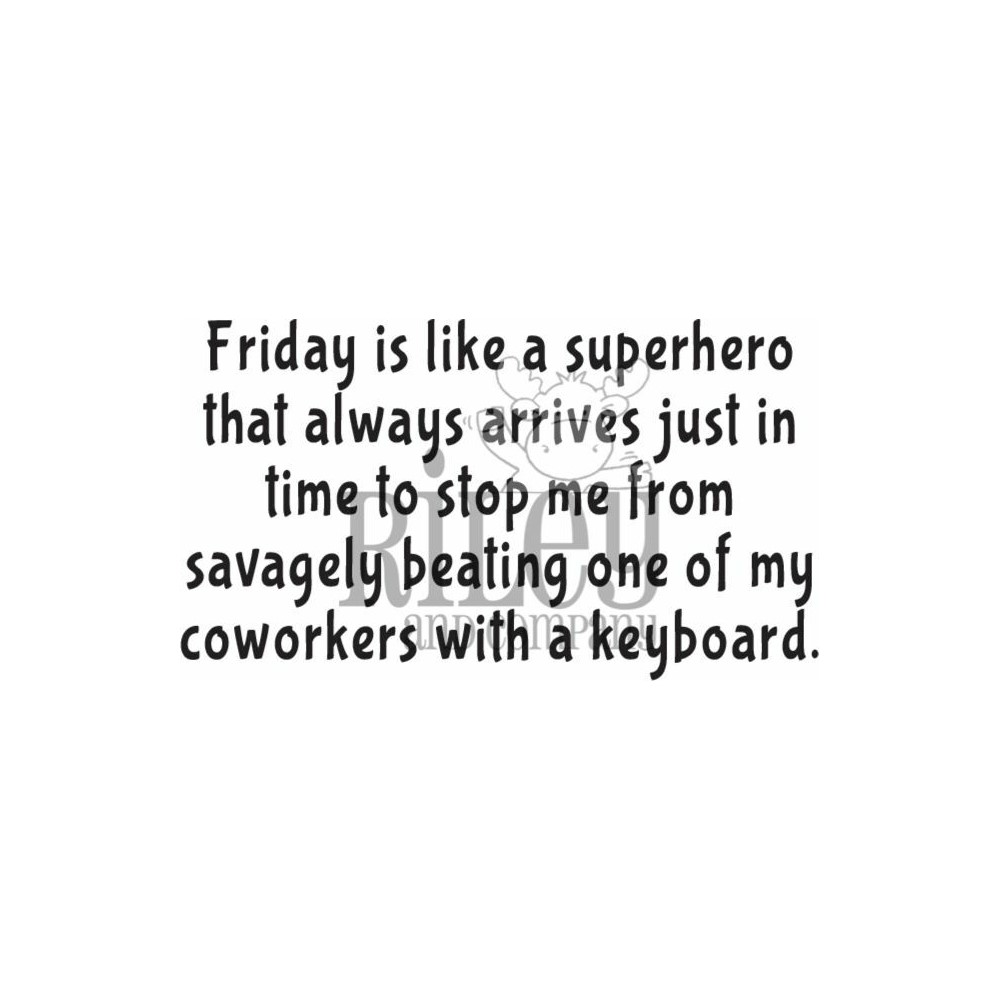 Riley And Company Funny Bones FRIDAY IS A SUPERHERO Cling Rubber Stamp RWD-941 zoom image