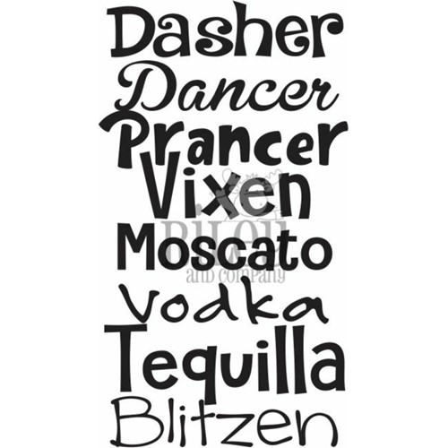 Riley And Company Funny Bones DASHER DANCER PRANCER Cling Rubber Stamp RWD-927 Preview Image