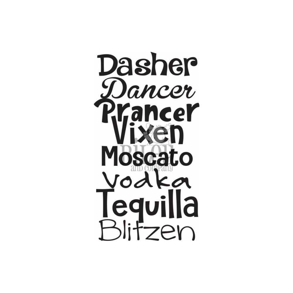 Riley And Company Funny Bones DASHER DANCER PRANCER Cling Rubber Stamp RWD-927 zoom image